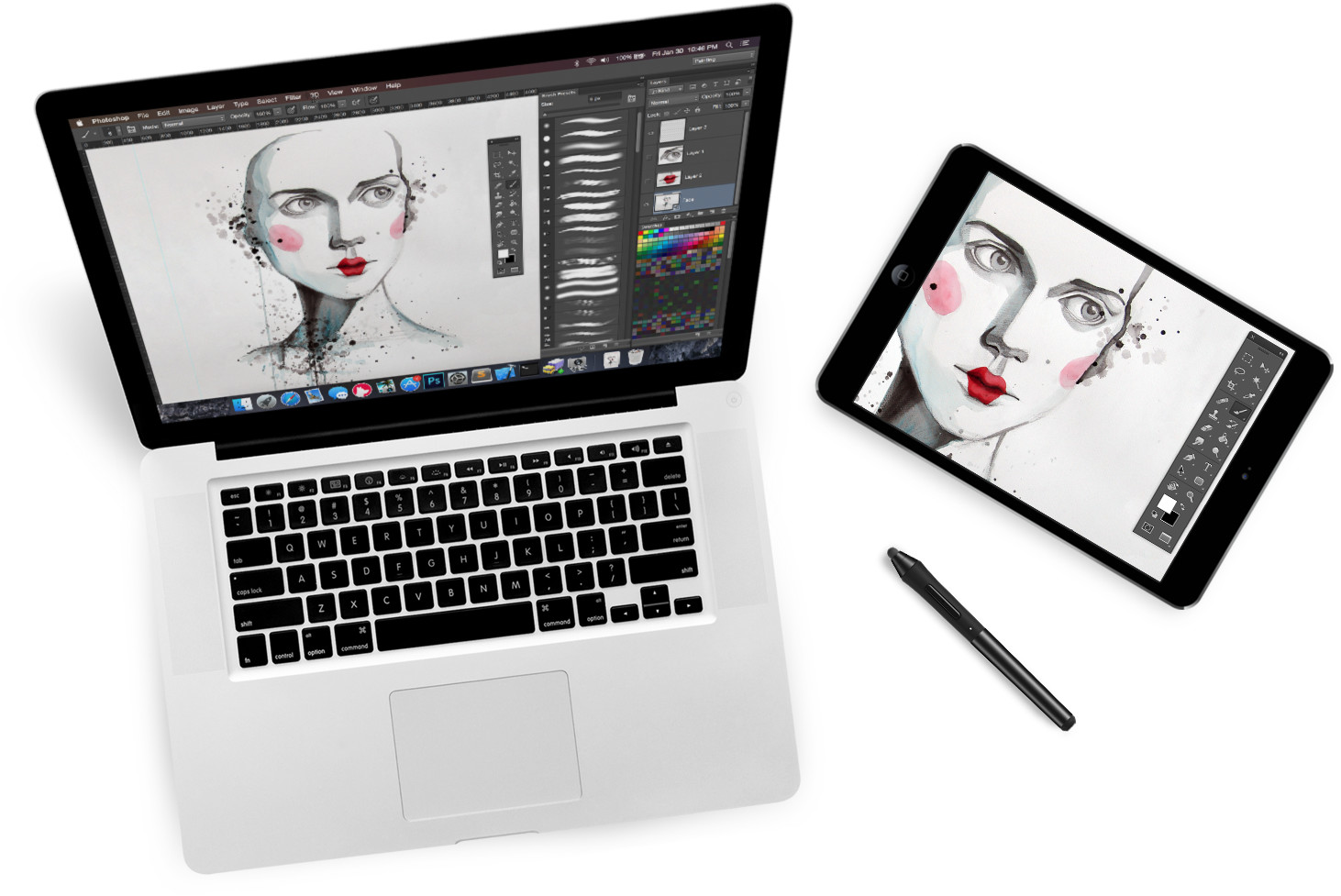 Easy connect to computers drawing tablet