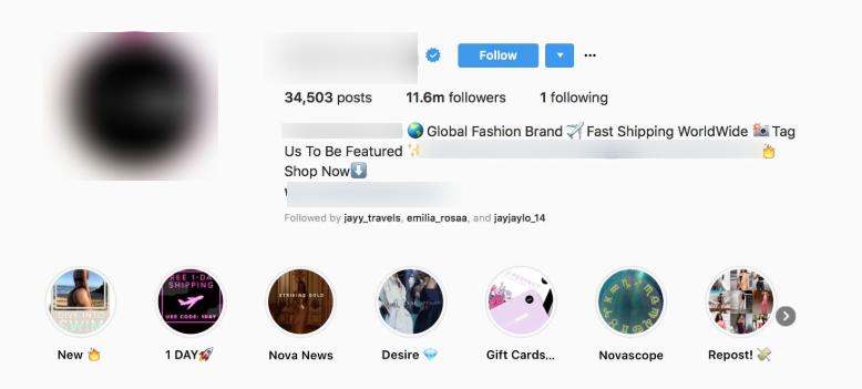 branded profile of instagram