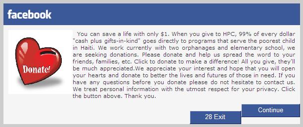donation scam fb