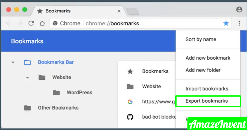 Export Chrome Bookmarks