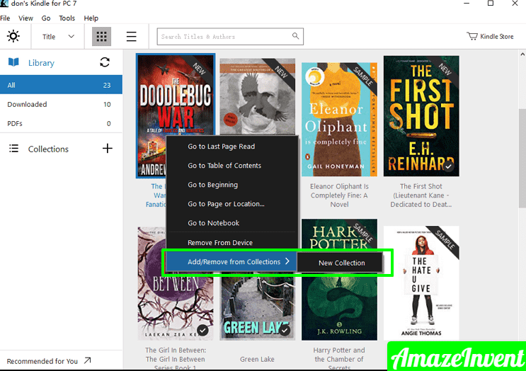 Install Kindle App for PC