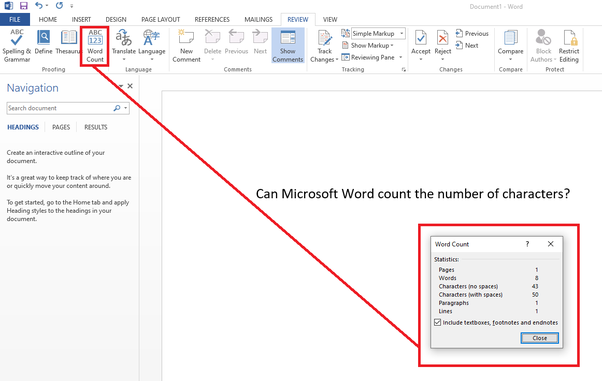 Count Characters in Microsoft Word