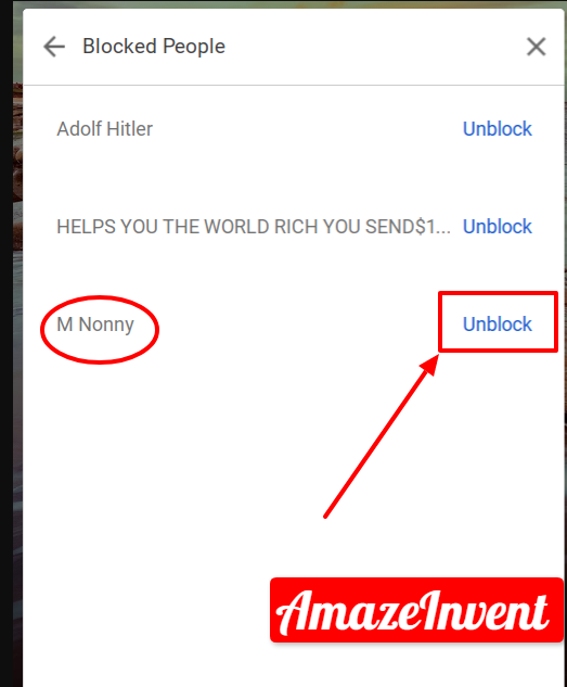 unblock someone on hangouts on the PC