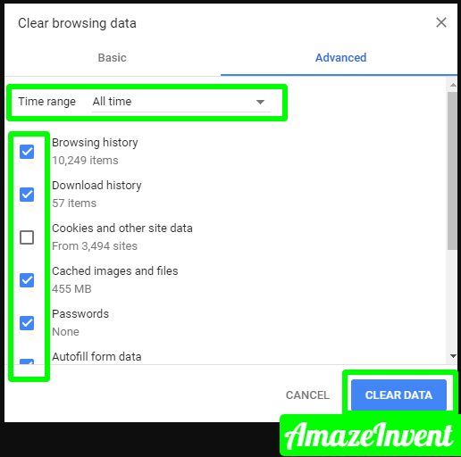 chrome advanced clear browsing data png 507×469  - How To Fix Roblox Error Code 267? Pretty Simple