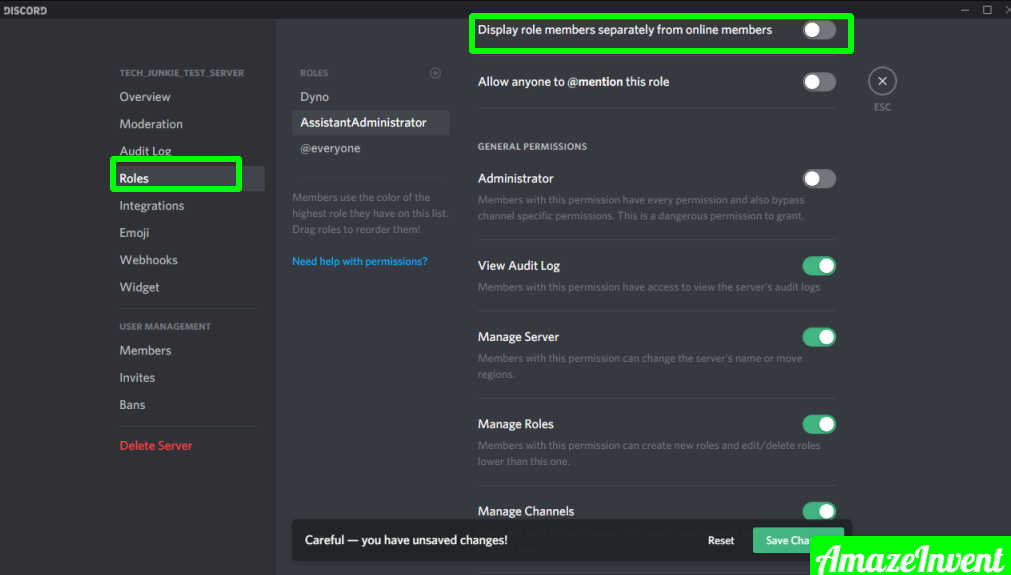 create a new role using discord