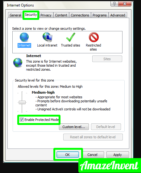 ie7 protected mode png 423×522  - How To Fix Roblox Error Code 267? Pretty Simple