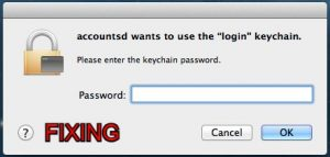 fix accountsd wants to use the login keychain