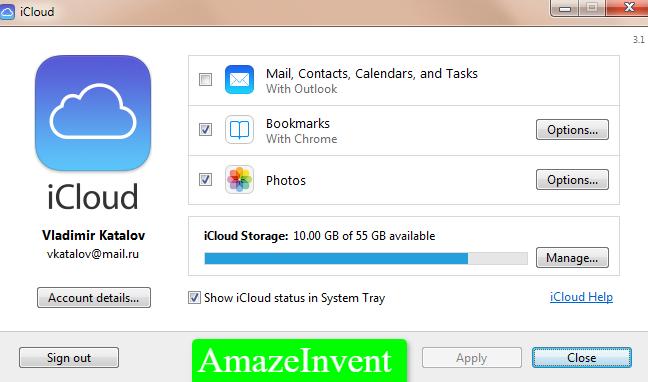 credentials in the iCloud desktop app